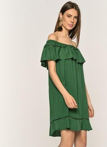 Loves You Carmen Yaka Şerit Nakışlı %100 Viskon Elbise Yeşil